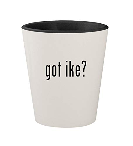 got ike? - Ceramic White Outer & Black Inner 1.5oz Shot Glass (Mike And Ike Tangy Twister Jelly Beans)