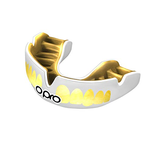 OPRO Power-Fit Mouthguard   Gum Shield for Rugby, Hockey, Wrestling, and Other Combat and Contact Sports (Adult and Junior Sizes) - 18 Month Dental Warranty (White/Gold Teeth, Junior)