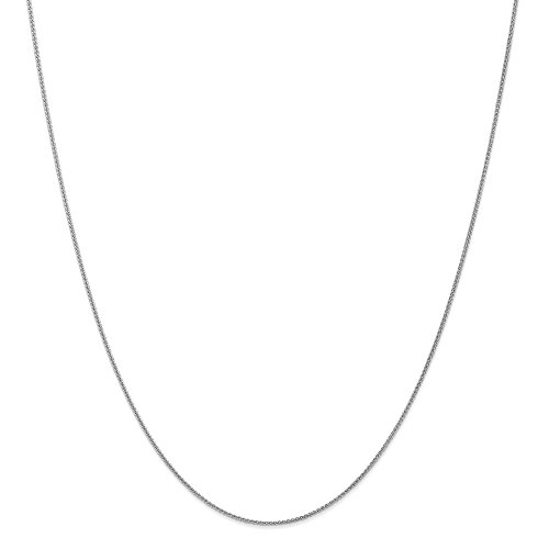 Bismark Designer Necklace - 14k White Gold 1mm Spiga Link Wheat Chain Necklace 18 Inch Pendant Charm Fine Jewelry Gifts For Women For Her