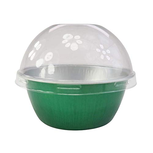 KitchenDance Disposable Aluminum 4 oz. Ramekins- Color & Lid Options- Pack of 100 (With Dome Lid, Green)
