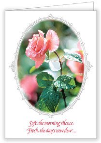 Mother's Day Deluxe Religious Greeting Card with Pink Rose, Mom's Prayer HC w/Embossed Envelope & Free Cross Bookmark