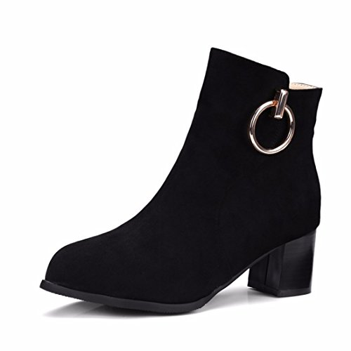 RFF-Women's Shoes Winter shoes boots female size metal decoration with boots Black 0snf6OZRL