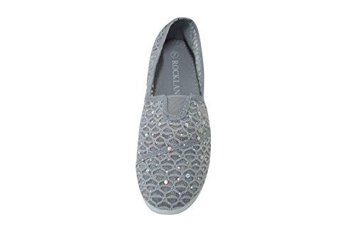 Womens Rhinestone Lace Flats Shoes Canvas Net  Tammy 16  Grey 6 M Us