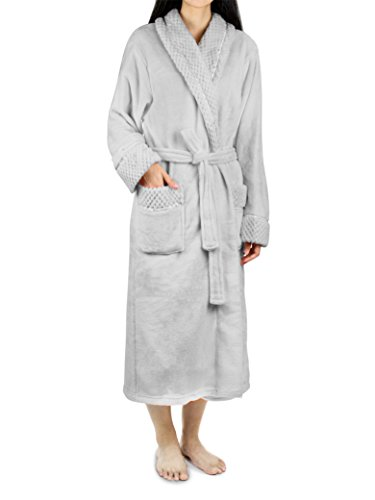 Deluxe Women Fleece Robe with Satin Trim | Luxurious Plush Spa Bathrobe Waffle Design