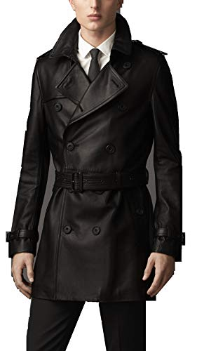 Leather Hubb Men's New Zealand Brown Lambskin Classic Leather Long/Trench Coat (XS) (Medium) ()