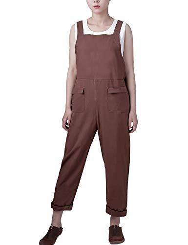 (Gihuo Women's Baggy Wide Leg Loose Overall Linen Harem Pants (Style02 Coffee, Large))