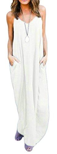 Cromoncent Femmes Sexy Ras Du Cou Irrégulier Camisoles Solide Blanc Long Robe De Plage