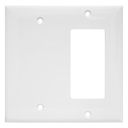 Enerlites Combination Wall Plate (Blank Device/Decorator Switch), Standard Size 2-Gang, Polycarbonate Thermoplastic, White 880131-W
