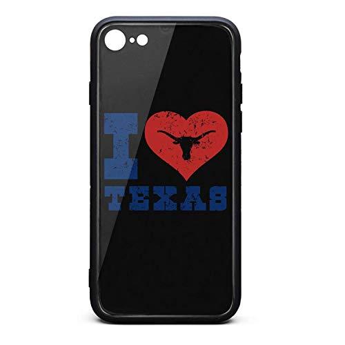 (Phone Case for iPhone 6/iPhone 6s Fancy I Love Texas Longhorn Design Art - I Love Texas Tempered Glass Black Anti-Scratch TPU Rubber Bumper Shock Skin for Man Back Cover)
