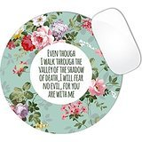 Psalm 23:4 Bible Verse Colorful Vintage Style Floral Flowers Pattern & White Circle In Center Mouse Pad (ROUND)