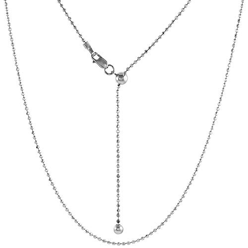 Sterling Silver Adjustable 1.5 mm Faceted Bead Chain Necklace Rhodium Finish Nickel Free, 24 inch ()