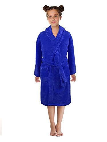 - Boys and Girls Plush Shawl Robe Super Soft Fleece Bathrobe Made in Turkey Large, Blue