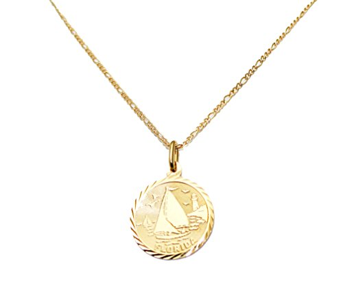 Sailboat Pendant (Florida Sail Boat Round Pendant with 20 Inch Chain 18k Gold Plated - Florida Round Necklace)