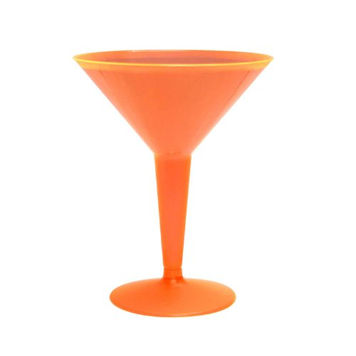 Party Essentials Hard Plastic Two Piece 8-Ounce Martini Glasses, Neon Orange, 10 Count -
