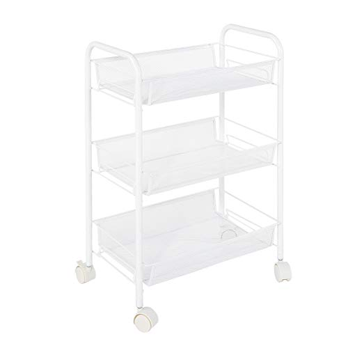 Storage Trolley Cart, 3 Tiers Removable Metal Rolling Wheel Storage Rack Trolley for Hair Salons Beauty Salons