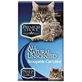 Premium Choice All Natural Unscented Scoopable Cat Litter, 25 Pound Bag