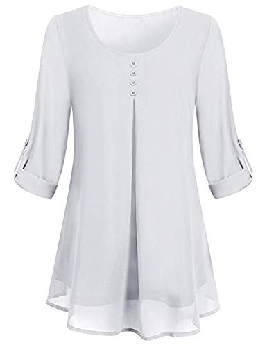 (SUNAELIA Going Out Tops for Women, Ladies Long Sleeve Henley Shirt Flattering Plain Casual Tee Tiered Layered Chiffon Scoop Neck Soft Surrounding Curved Relaxed Fit Tunic Blouse Pintuck White)