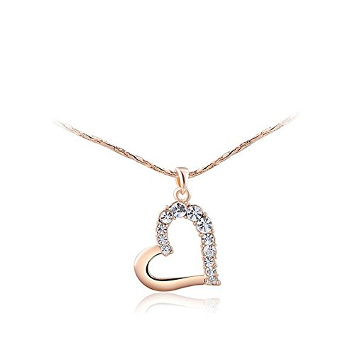 I's Fashion Jewelry Rose Gold/White Gold Tone Owl/Flower/Heart Charm with Austrian Crystal Pendant Necklace for Women - Crystal Gold Tone Heart