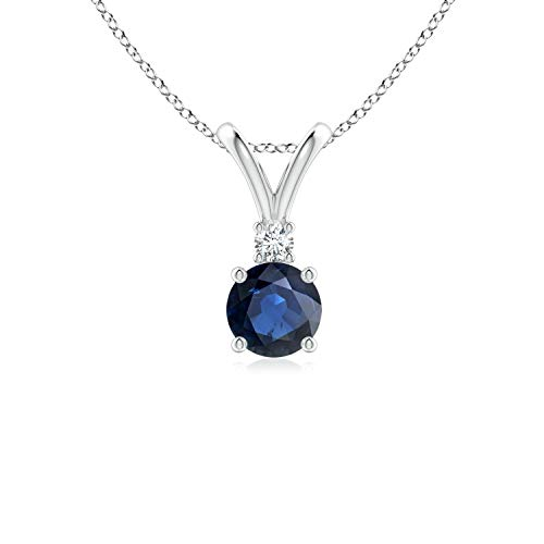 Round Blue Sapphire Solitaire V-Bale Pendant with Diamond in 14K White Gold (5mm Blue Sapphire) - Sapphire Round Blue Solitaire