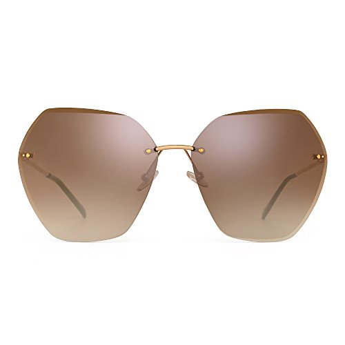 Oversize Rimless Gradient Sunglasses Square Clear Eyeglasses Women (Silver / Gradient - Square Face Eyeglasses