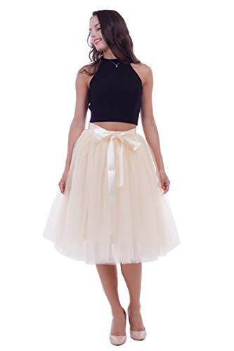 Women's Adult 7 Layered Pleated Tulle Tutu Skirt A Line Knee Length Petticoat Prom Party Skirt (Beige)