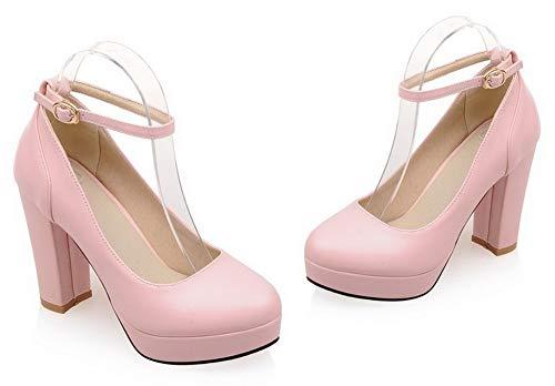De Mujeres Tacón Alto Aalardom Tsmdh008010 Con Pu Hebilla Zapatos Tacón Sólido Rosa 8Taqqwd