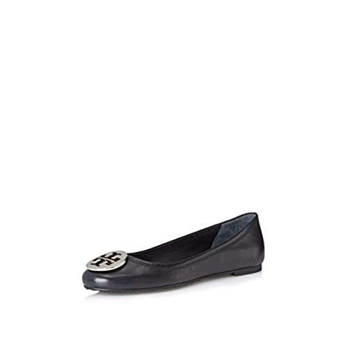 6ba270329 ... clearance tory burch leather reva black and silver ballet flat hot sale  2017 2fe8a 97e76