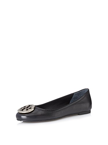 Tory Burch Leather Reva Black and Silver Ballet Flat - Burch Reva