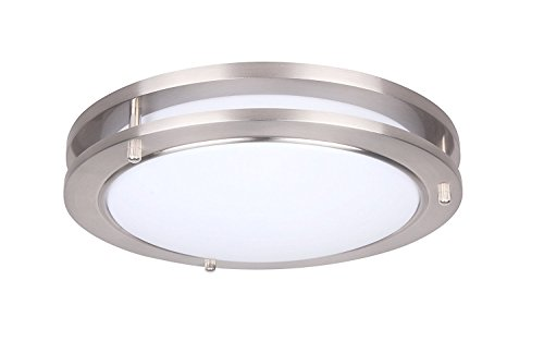 (Yeuloum 15 inch LED Flush Mount Ceiling Light Fixture, Dimmable, Dust-Proof, 1925 Lumen, 27.5W Replace 200W, Satin Nickel Finish, ETL/ES Rated)