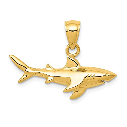 14k Yellow Gold Shark Pendant Charm Necklace Sea Life Fish Fine Jewelry For Women Gift Set