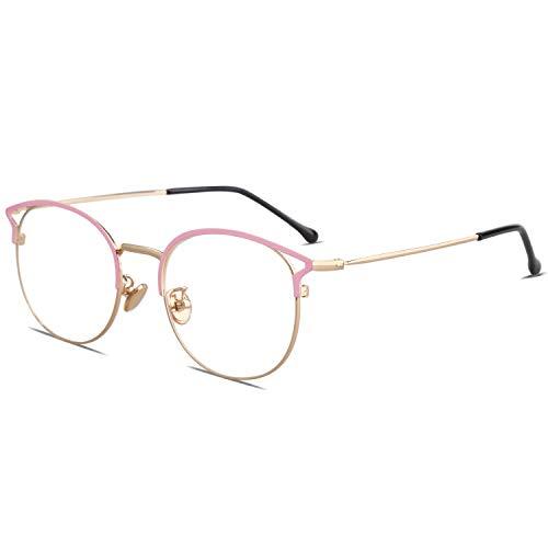 SOJOS Cateye Blue Light Blocking Eyeglasses Frame Anti-eyestrain, Anti Glare Glasses for Women Oasis with Pink Frame/Gold Rim