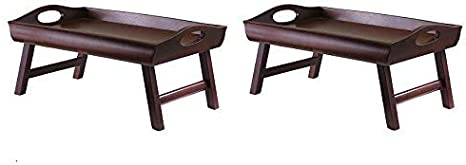 Winsome Wood Sedona Bed Tray Pack of 2 Antique Walnut