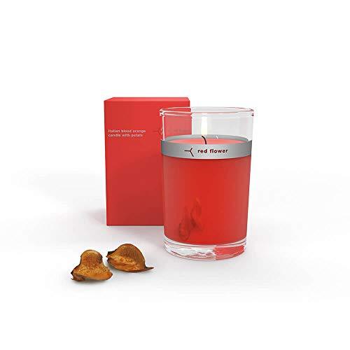 - Red Flower Italian Blood Orange Petal Topped Candle, Italian Blood Orange, 6 oz