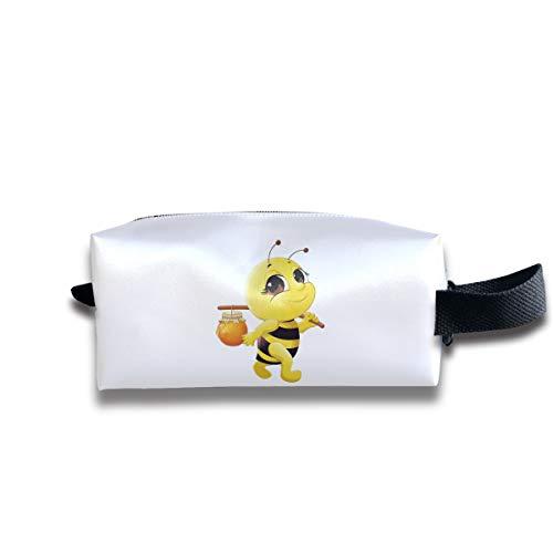 Clash Durable Zipper Wallet Makeup Handbag With Wrist Band Honey Bee Toiletry Bag -