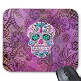 Price comparison product image Hipster Sugar Skull Pink Teal Blue Floral Pattern Mouse Pad Great Office Accessory and Gift