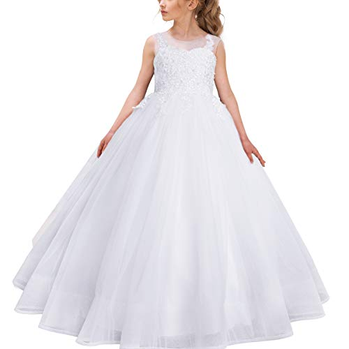 (White Lace Ball Gown Pageant Dresses for Girls Floor Length Flower Puffy Tulle Prom Wedding Birthday)