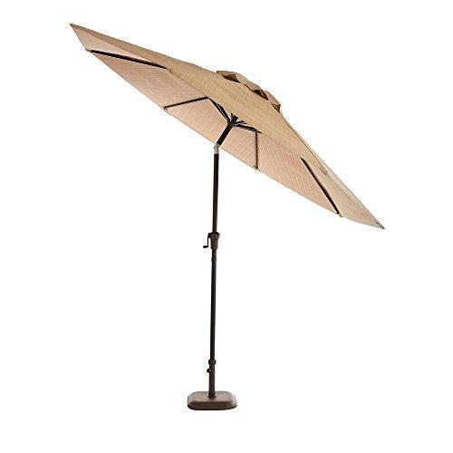 Hampton Bay Belleville 9 ft. Steel Tilt Patio Umbrella in Beige