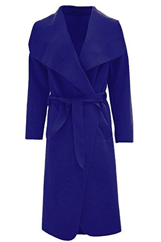 Women Jacket Duster Italian Waterfall Trench M0D4 Belted Long Navy Coat 8 Ladies METLUQ 14 French RXx5wc