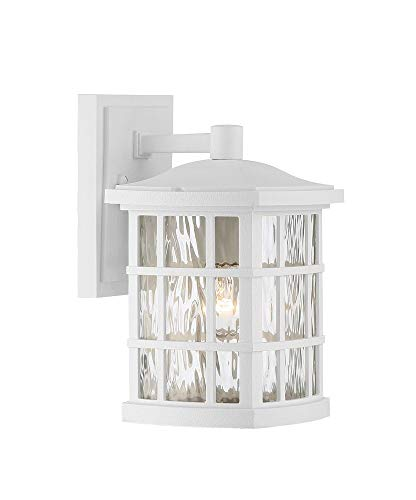 Bellacor Plastic Sconce - Quoizel SNN8406W Stonington Outdoor Wall Sconce Lighting, 1-Light, 100 Watt, Fresco (11