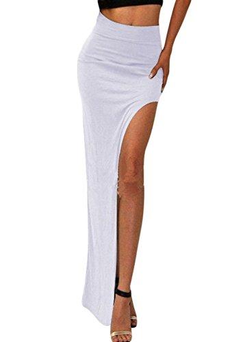 De Maxi Occasionnels White Split Jupe Danse Minces Bodycon Irrguliers Les Solides Haut Femmes qxXwUz4X0