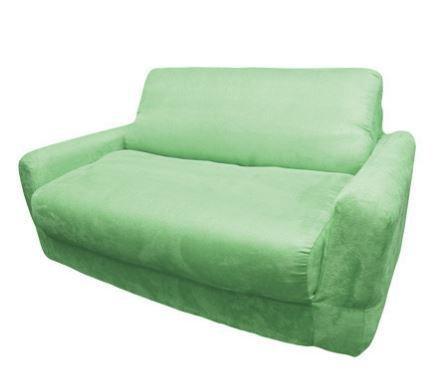 Fun Furnishings Micro Suede Sofa Sleeper with Pillows, Green ()