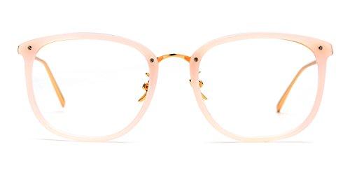 TIJN Vintage Optical Acetate Eyewear Eyeglasses Frame with Clear Lenses (Pink, 51-20-143)