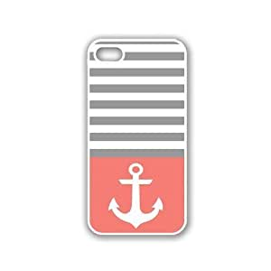 Anchor Coral and Grey Stripes White iphone 4 Cover Iphone 4s Case - For iphon...