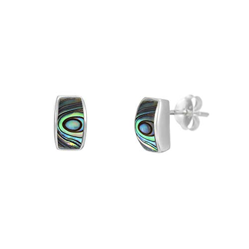 Silverly Women's .925 Sterling Silver 8.5 mm Abalone Shell Blue Curved Bar Rectangle Stud Earrings