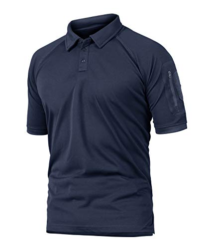 CRYSULLY Men's Military Short Sleeve Shirt Cargo Tactical Pullover Outdoor T-Shirt Army Combat Polo Shirts