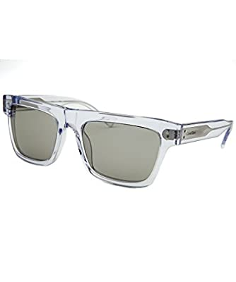 Calvin Klein Men's Square Translucent Sunglasses, Crystal Clear with Grey Lens, 57/19/140