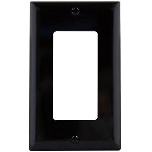 Enerlites 8831-BK 1-Gang Decorator/GFCI Rocker Wall Plate, Standard Size, Unbreakable Polycarbonate, Black