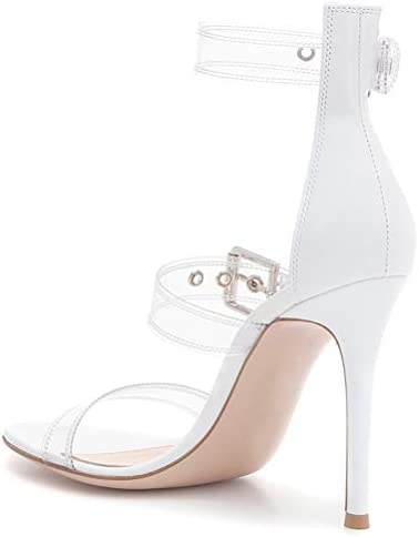Insole Sandales Talon Haut, Mesdames PVC Transparent avec Métal Boucle Pointu Stiletto Été Chaussures Femme Party Banquet