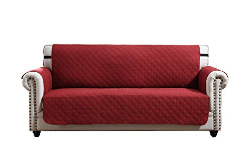 (Argstar Sofa Cover Furniture Protector for Pet, Cats, Dogs Couch Slipcover Wine Red/Tan (3 Seater))