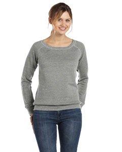 Bella 7501 Womens Sponge Fleece Wide Neck Sweatshirt - Light Grey Marble Fleece, (Single Poly Rack)